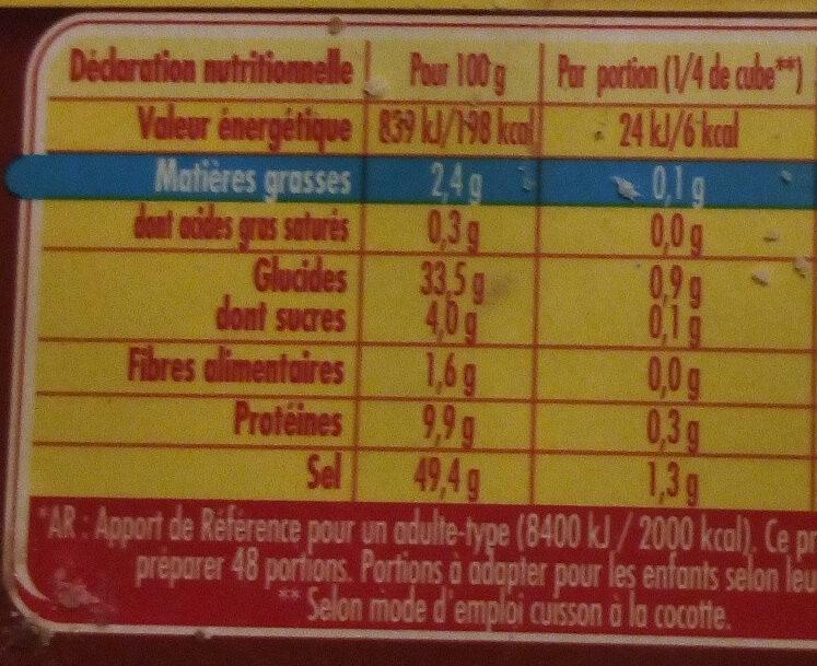 Bouillon Kub Pot-au-feu Dégraissé - Voedingswaarden - fr