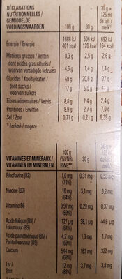 NESTLE FITNESS Chocolat Noir Céréales - Nutrition facts - en