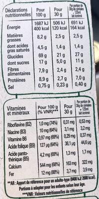 Fitness Chocolat Noir - Voedingswaarden - fr