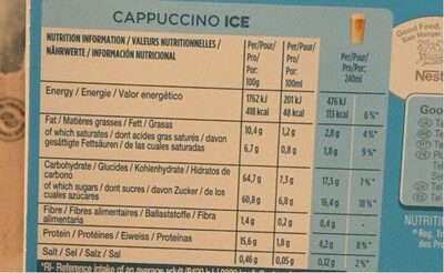 Gusto Cappuccino Ice Coffee Pods Capsules Per Box - Nutrition facts - fr