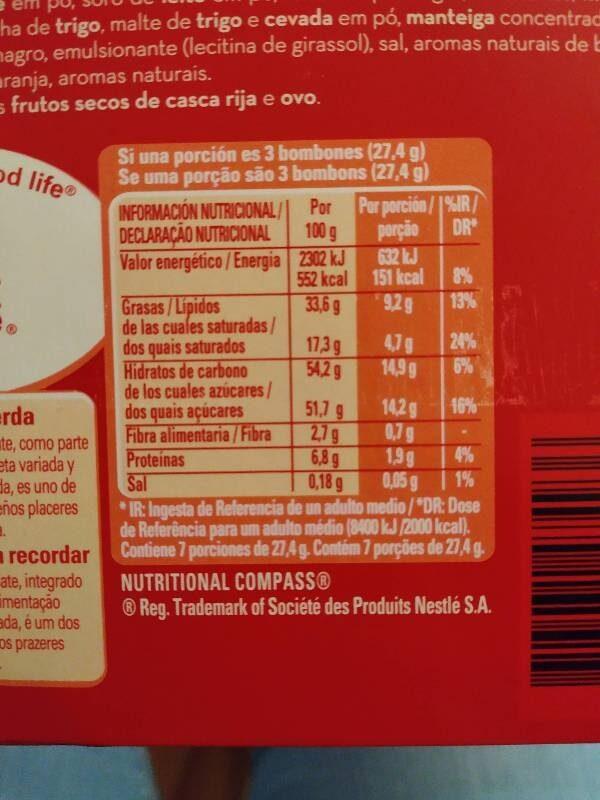 Bombones De Chocolate - Información nutricional