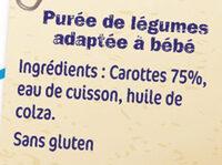 NESTLE NATURNES Petits Pots Bébé Carottes -2x130g -Dès 4/6 mois - Ingredienti - fr