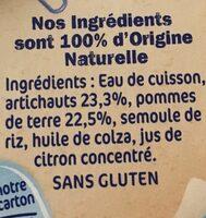 Pack 2X130G Naturnes Artichaut Nestle - Ingrediënten