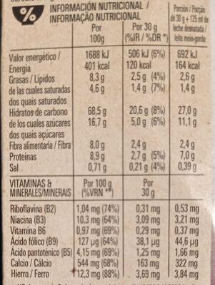 Fitness Chocolate Negro - Informação nutricional - es