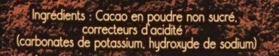 Cacao en poudre brut non sucré - Ingrédients - fr