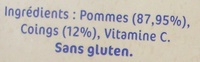 NaturNes Pommes, Coings (4 Pots) - Ingredients