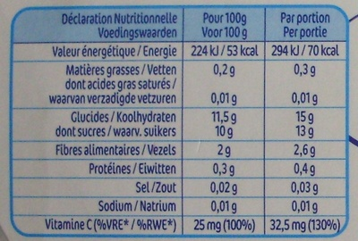NaturNes Pommes, Coings (4 Pots) - Nutrition facts