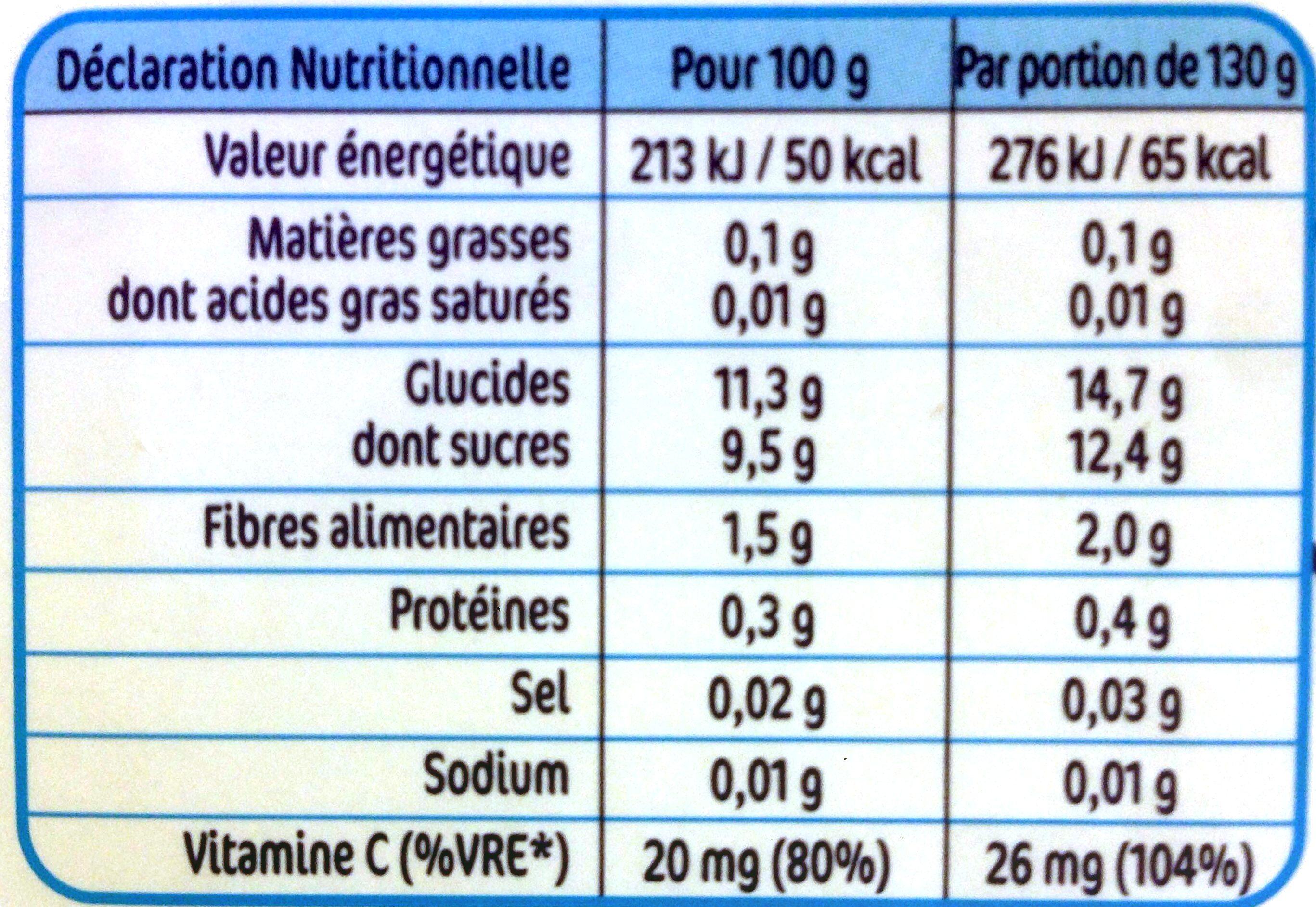 NESTLE NATURNES Compotes Bébé Pommes Fraises Myrtilles -4x130g -Dès 6 mois - Valori nutrizionali - fr