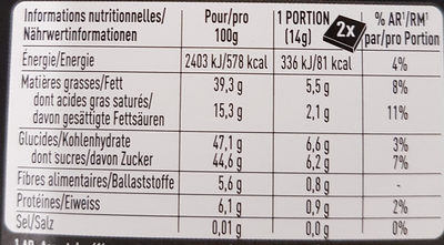 Cailler Of Switzerland Feinste Dunkle Schokolade - Nutrition facts