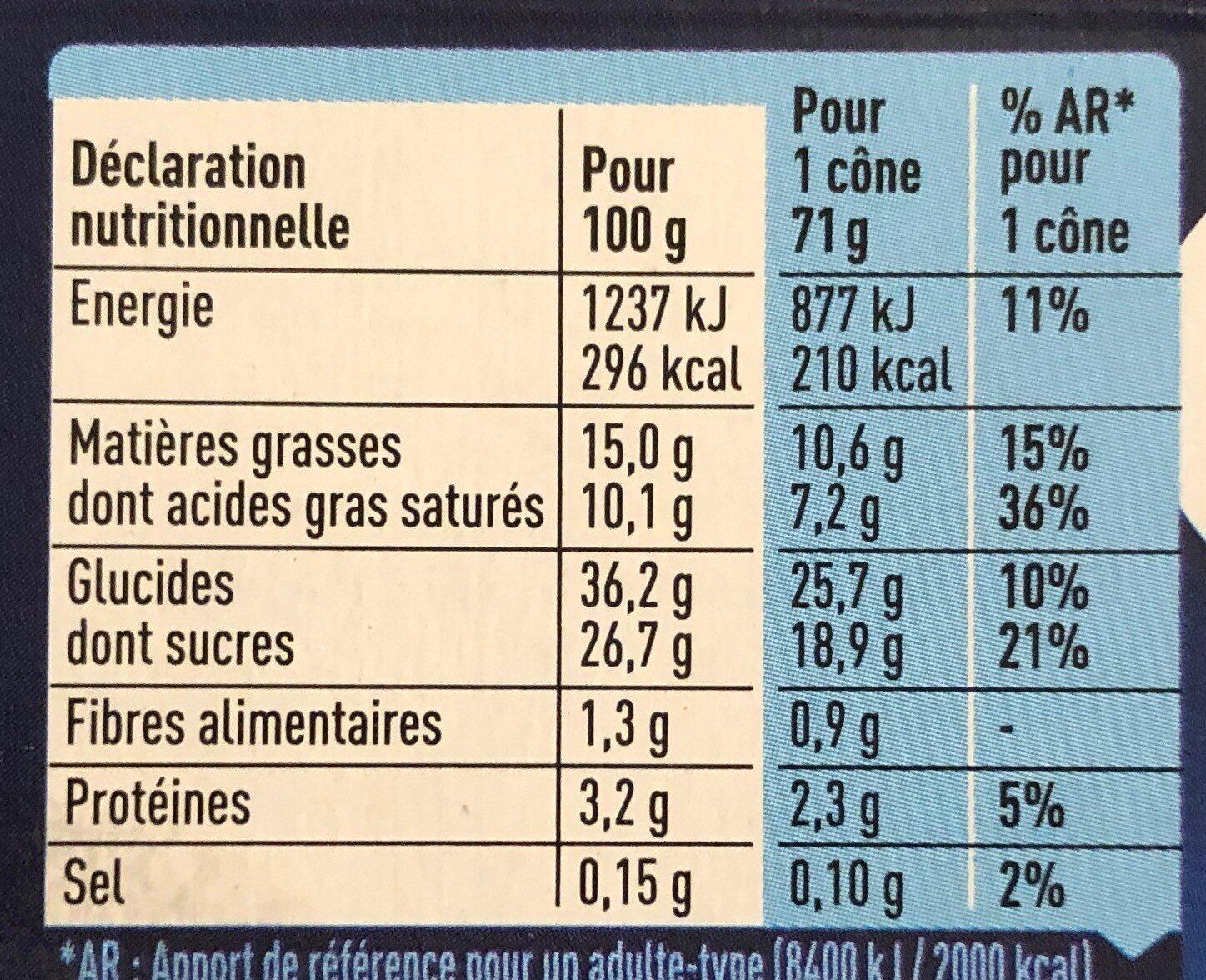 Cônes Extrême Vanille - Valori nutrizionali - fr