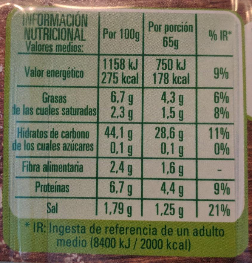 Finíssima masa para pizza rectangular fina y crujiente - Voedingswaarden - es