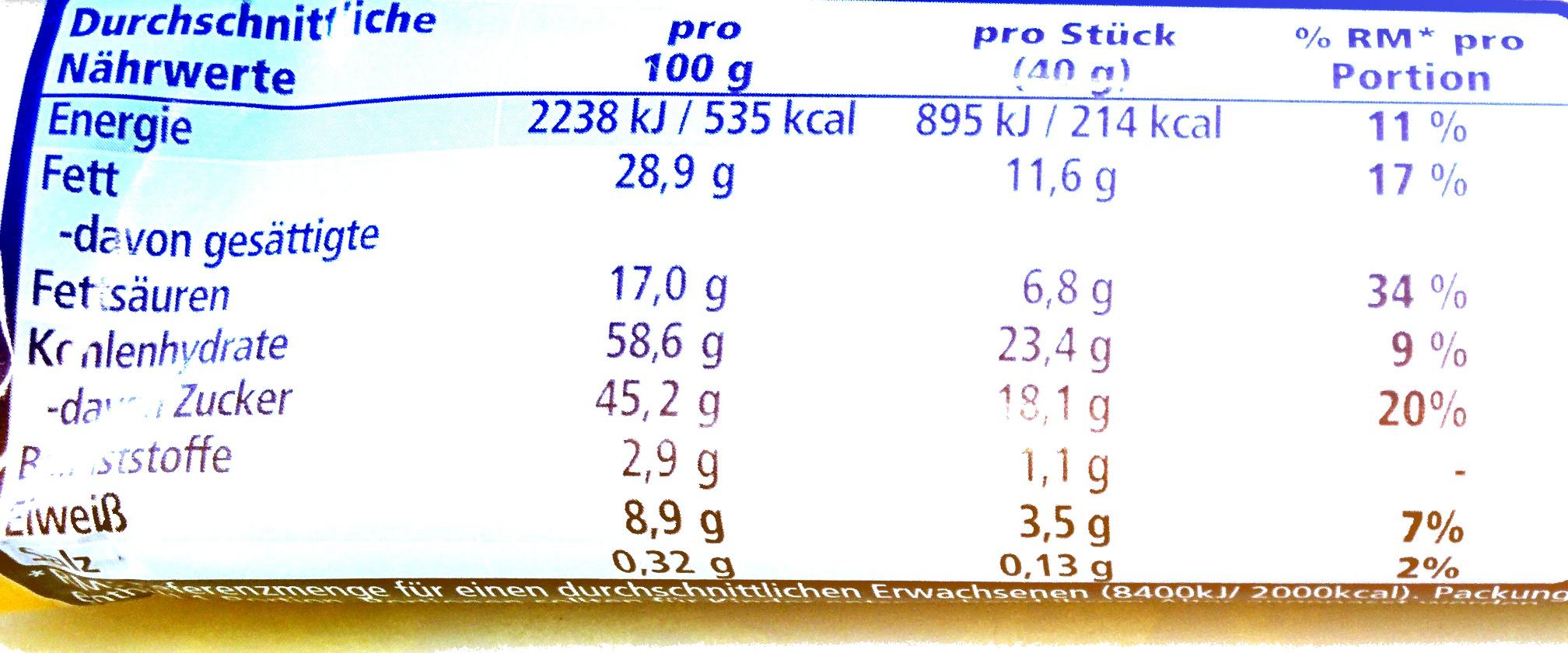 Snack Erdnuss - Nährwertangaben - de