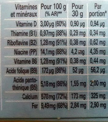CEREALES NESTLE MIX 190G - VARIETES DE CEREALES (Crunch, Chocapic, Cookie Crisp, Lion, Nesquik, Chokella) - Nutrition facts - fr