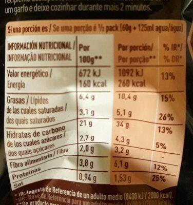 Fusian Yakisoba fideos orientales sabor classic sobre 120 g - Información nutricional