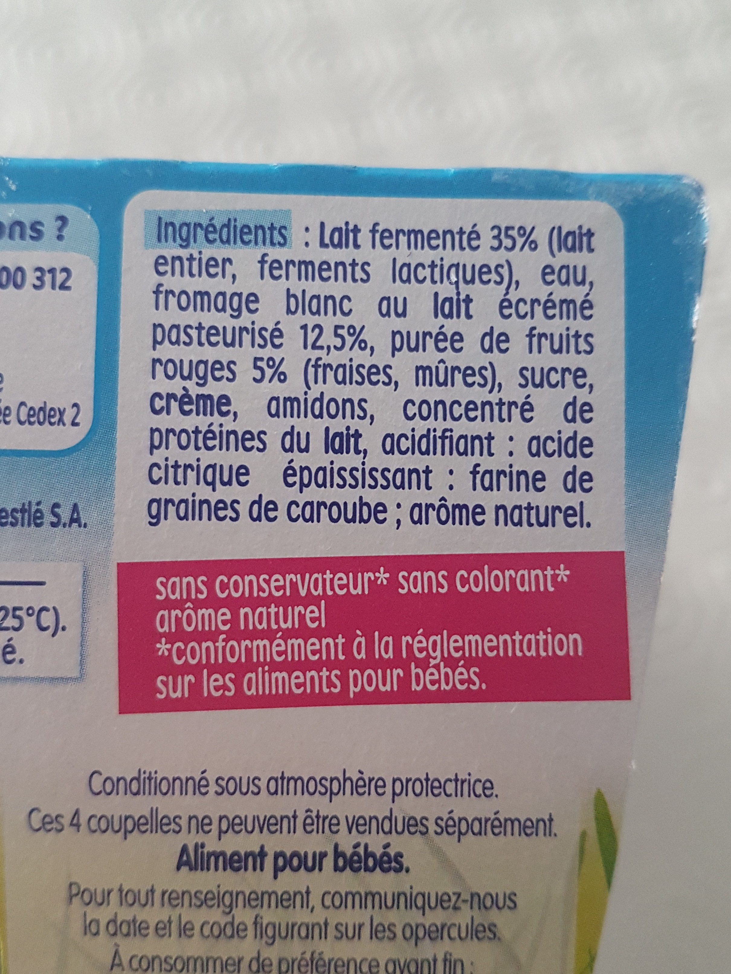P'tit onctueux au fromage blanc fruits rouges - Ingredienti - fr