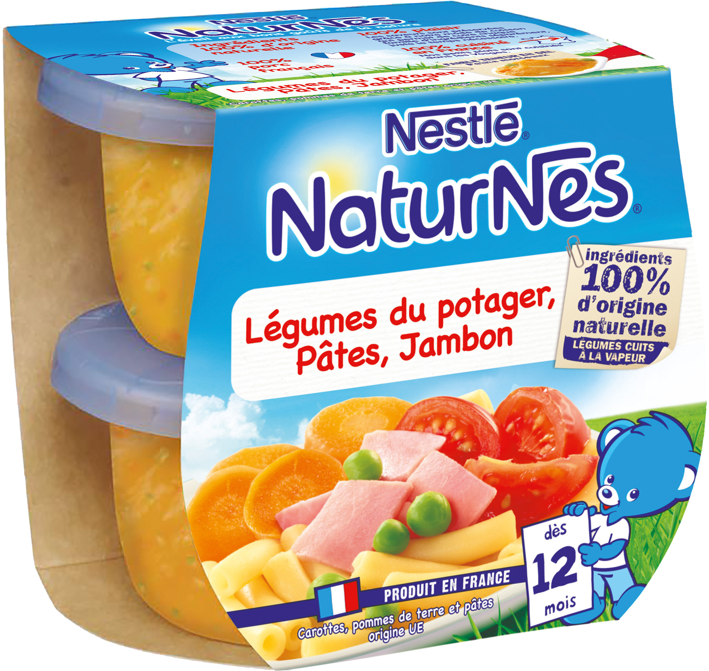 NESTLE NATURNES Petits Pots Bébé Légumes du Potager, Pâtes, Jambon -2x200g -Dès 12 mois - Prodotto - fr