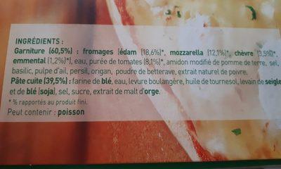 Buitoni Pizza Four à Pierre 4 Fromages x2 +1 Gratuite -1.17k - Ingrédients