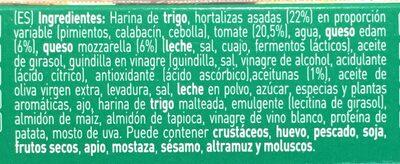 Pizza vegetal calabacín pimientos y aceitunas - Ingredientes - es