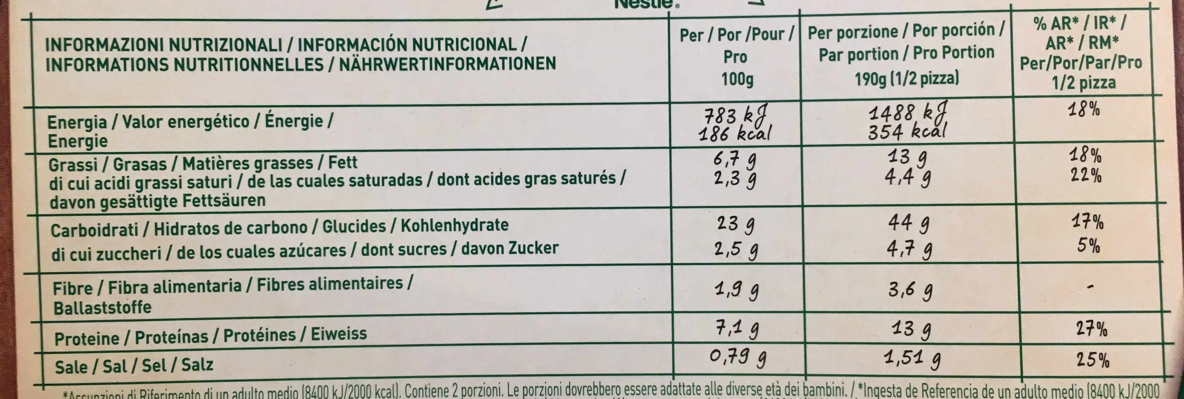 pizza vegetarienne - Voedingswaarden