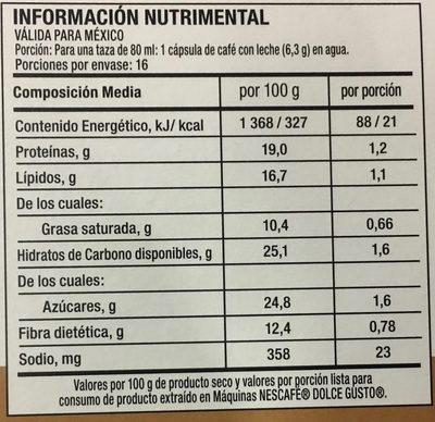Dolce Gusto cortado espresso macchiato - Nutrition facts - es