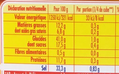 Bouillon Kub de Volaille (-25% de Sel) - Nutrition facts