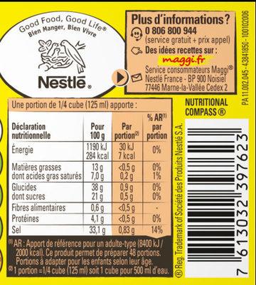 MAGGI Bouillon KUB Volaille Réduit en sel de -25% - Voedingswaarden - fr