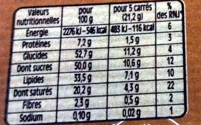 Chocolat Nestlé Dessert au caramel - Nutrition facts