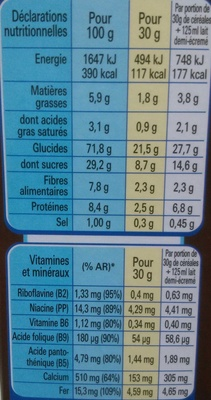 Clusters chocolat - Informations nutritionnelles - fr