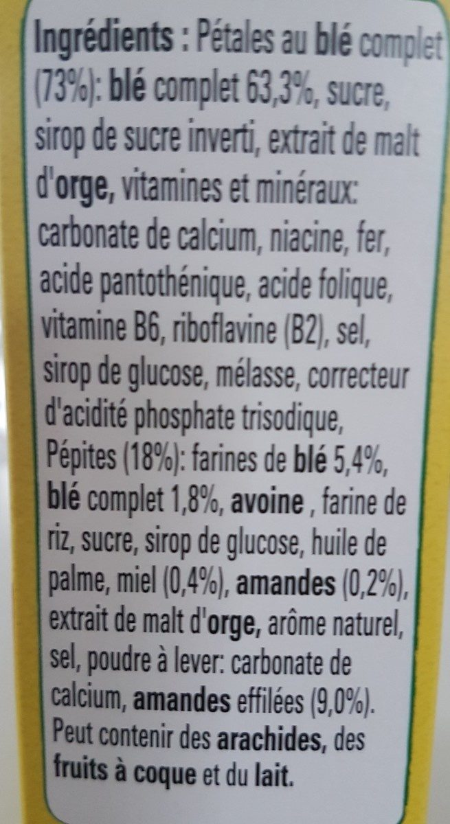 CLUSTERS Amandes céréales petit déjeuner - Ingredients - fr
