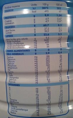 Nidal Natéa 2 - Nutrition facts