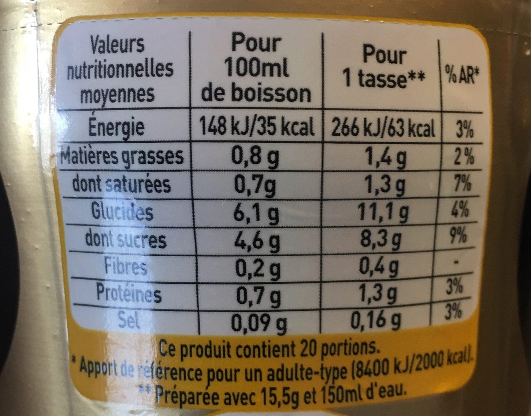 NESCAFE Cappuccino Vanille, Café soluble, Boîte de - Informations nutritionnelles - fr