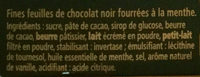 Mint chocolate thins - Ingredients