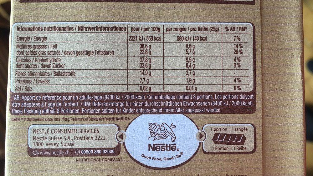 Cuisine chocolat noir 64% - Informations nutritionnelles - fr