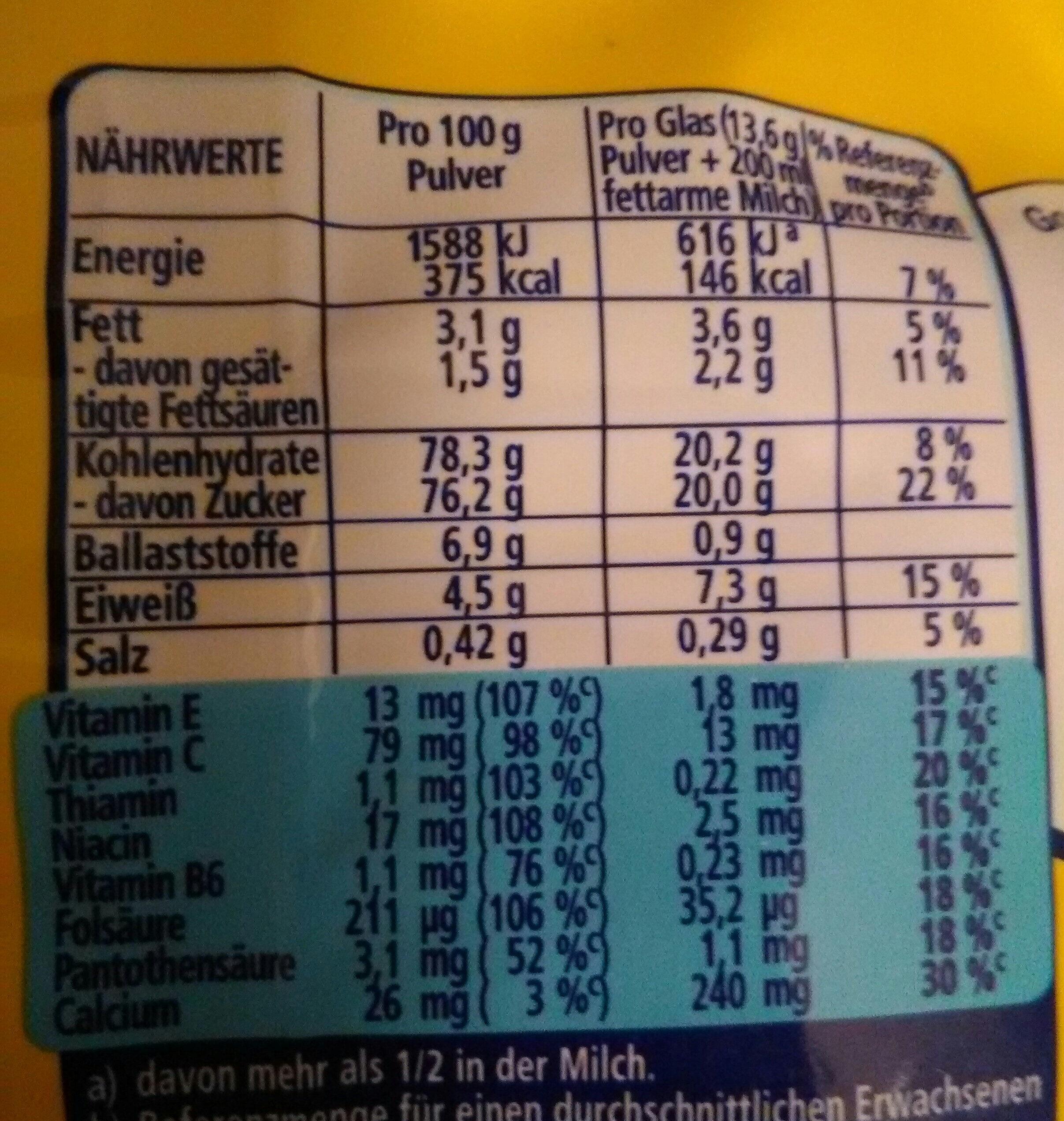Nestle Nesquik - Voedingswaarden - de