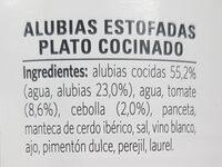 Alubias con su sofrito - Ingredientes