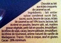 Grand Chocolat Lait Caramel Pointe de Sel - Ingredients - fr