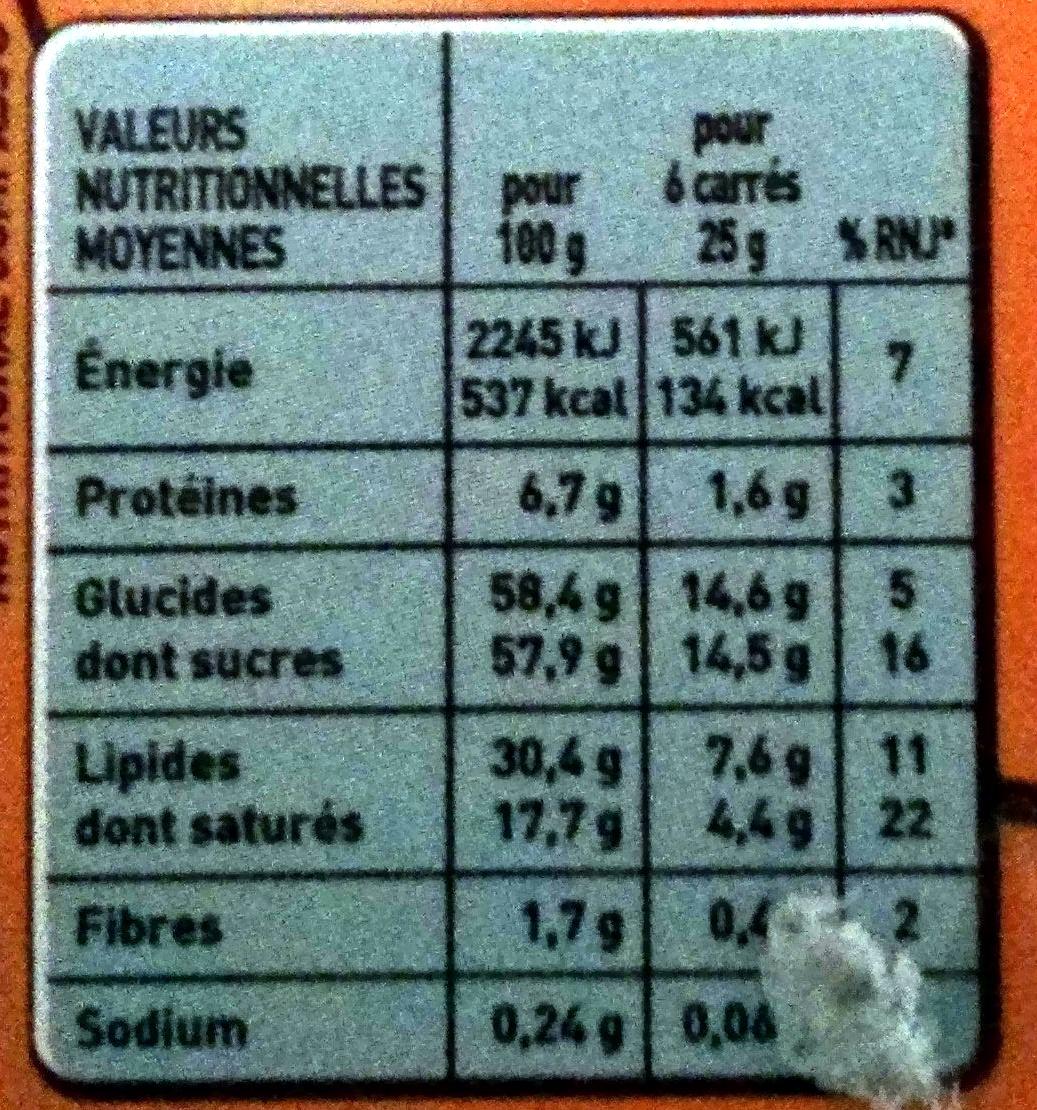 Grand Chocolat Lait Caramel Pointe de Sel - Nutrition facts - fr