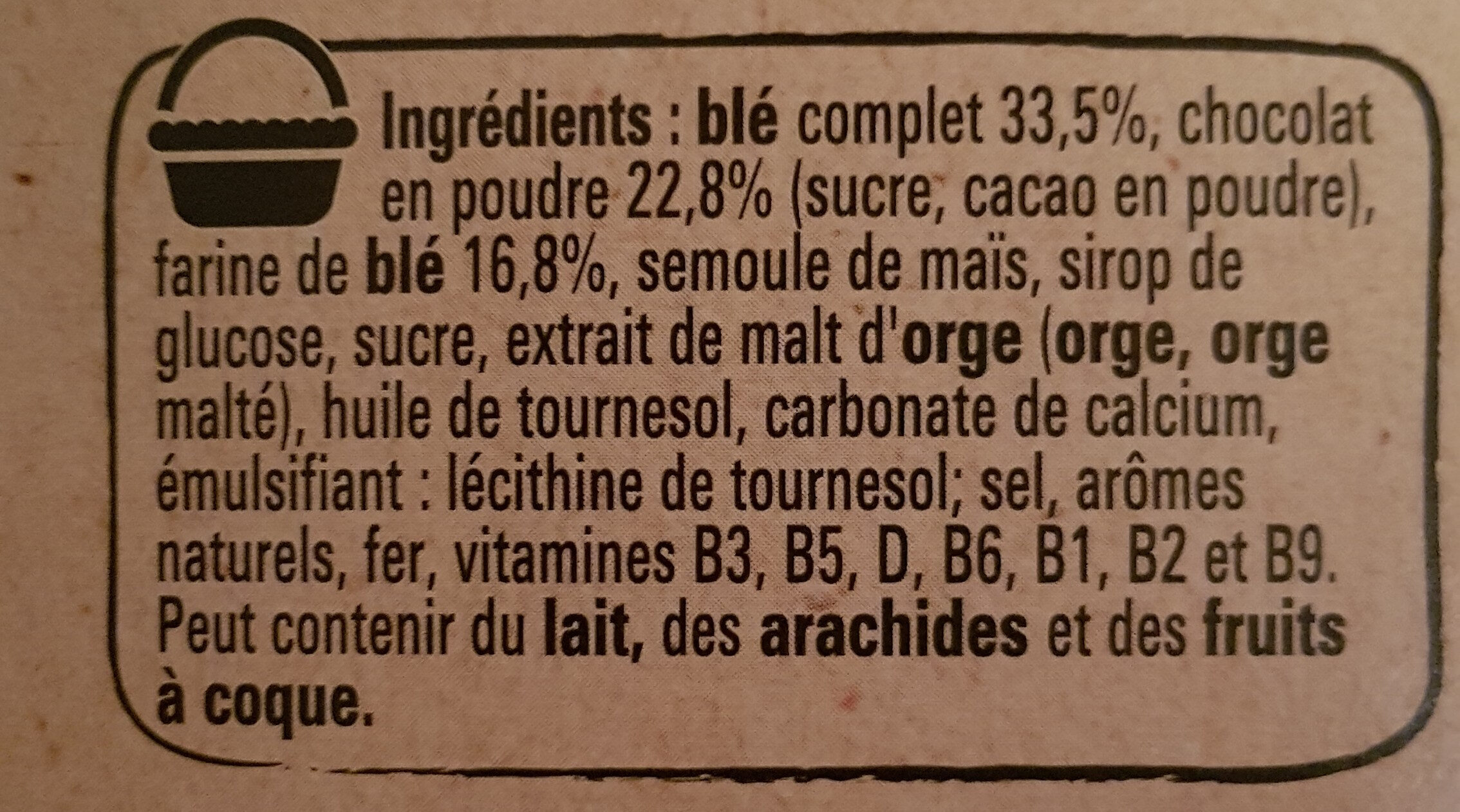 CHOCAPIC céréales petit déjeuner - Ingrédients - fr