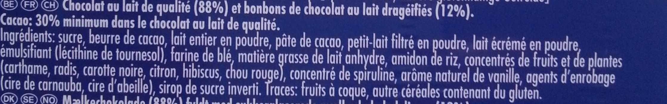 Calendrier de l'Avent Smarties - Ingredients - fr