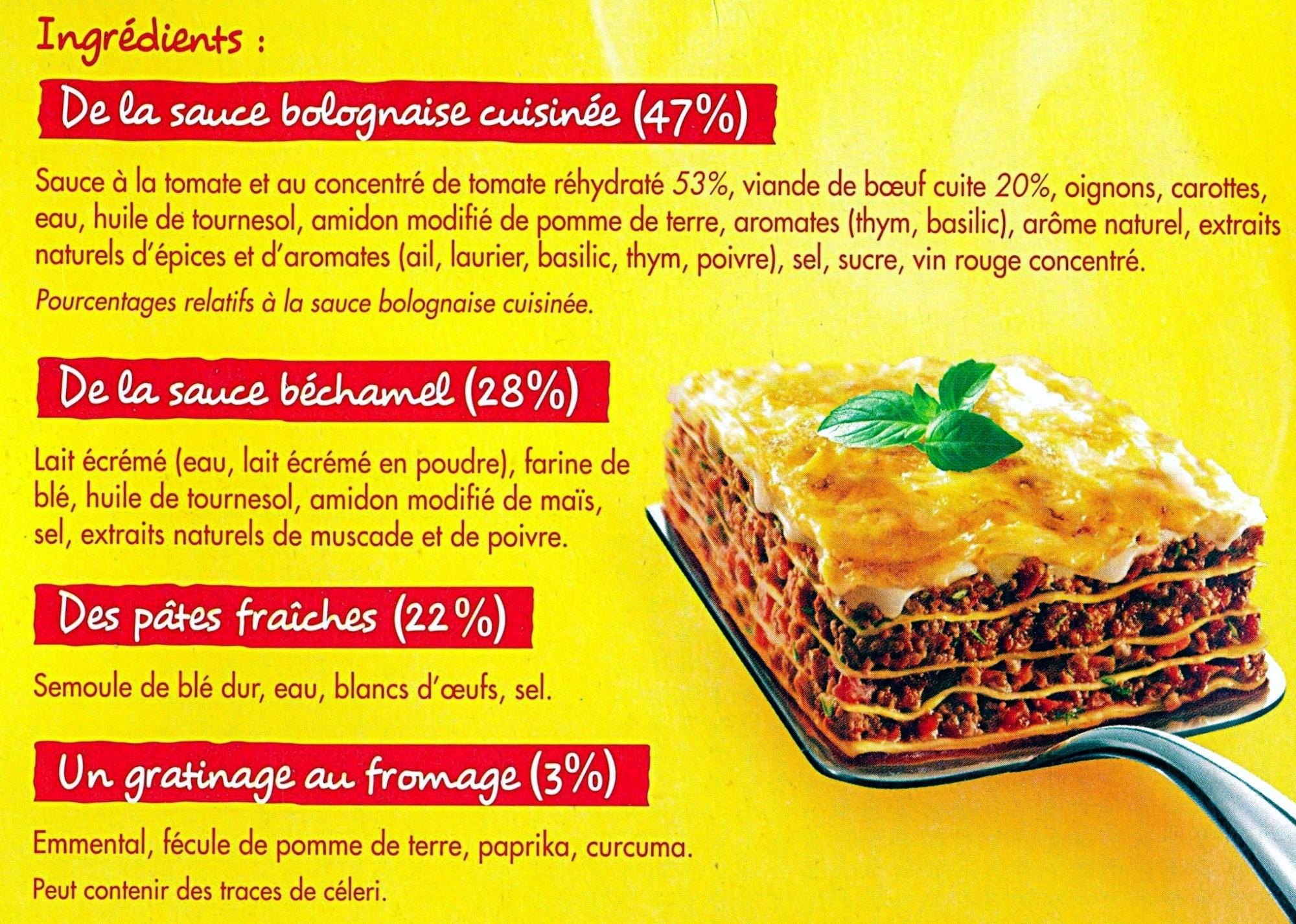 Lasagnes à la Bolognaise - 1 kg - Maggi - Ingrédients