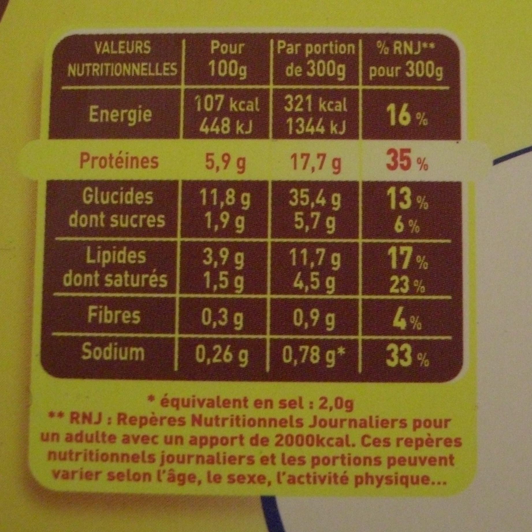 Hachis Parmentier - 1 kg - Maggi - Informations nutritionnelles - fr