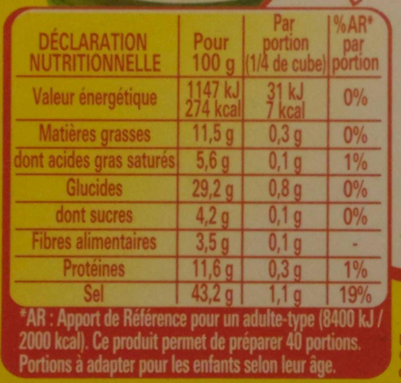 Bouillon KUB® DUO Légumes + Herbes du marché - Voedigswaarden