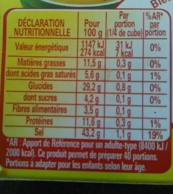 MAGGI Bouillon KUB DUO Légumes + Herbes du marché - Valori nutrizionali - fr