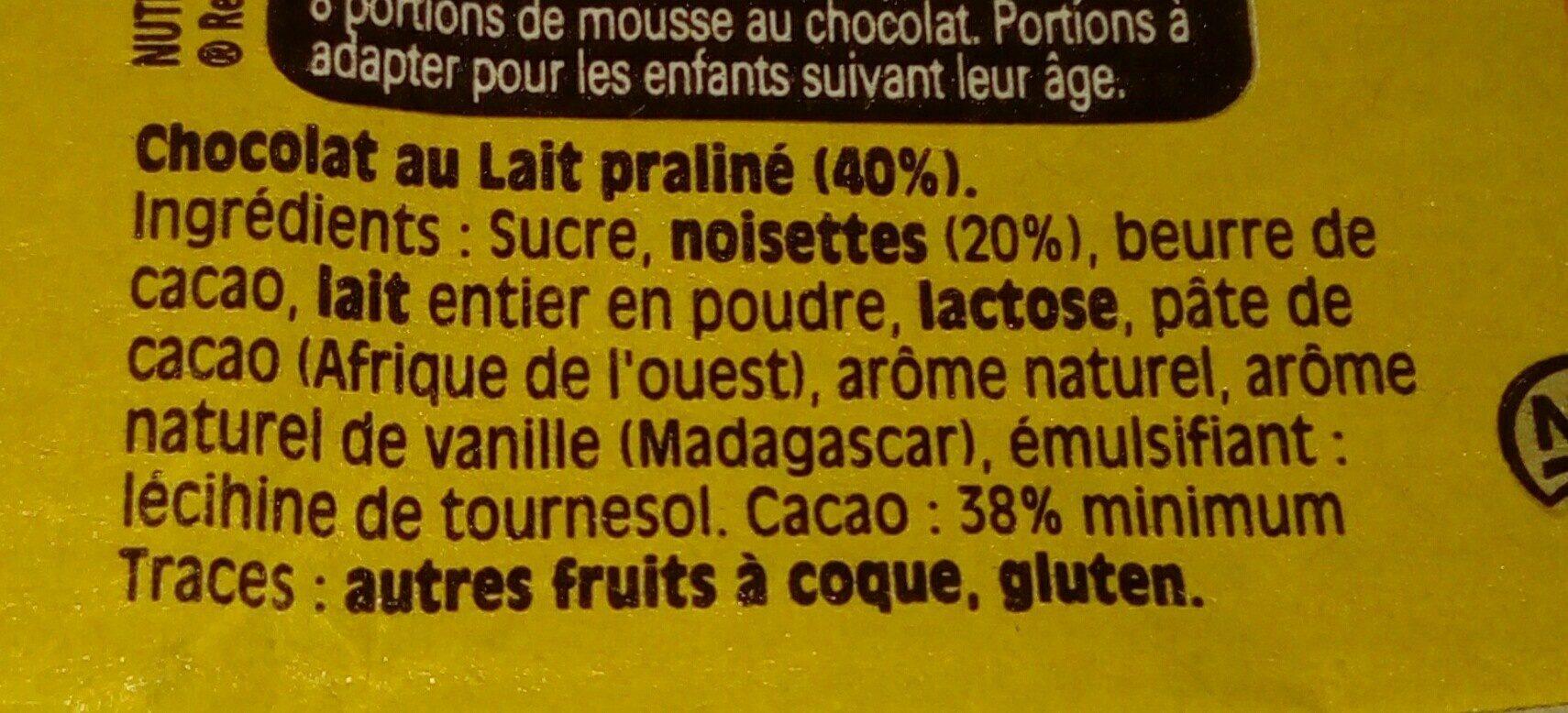 Nestlé Dessert Praliné - Ingrédients