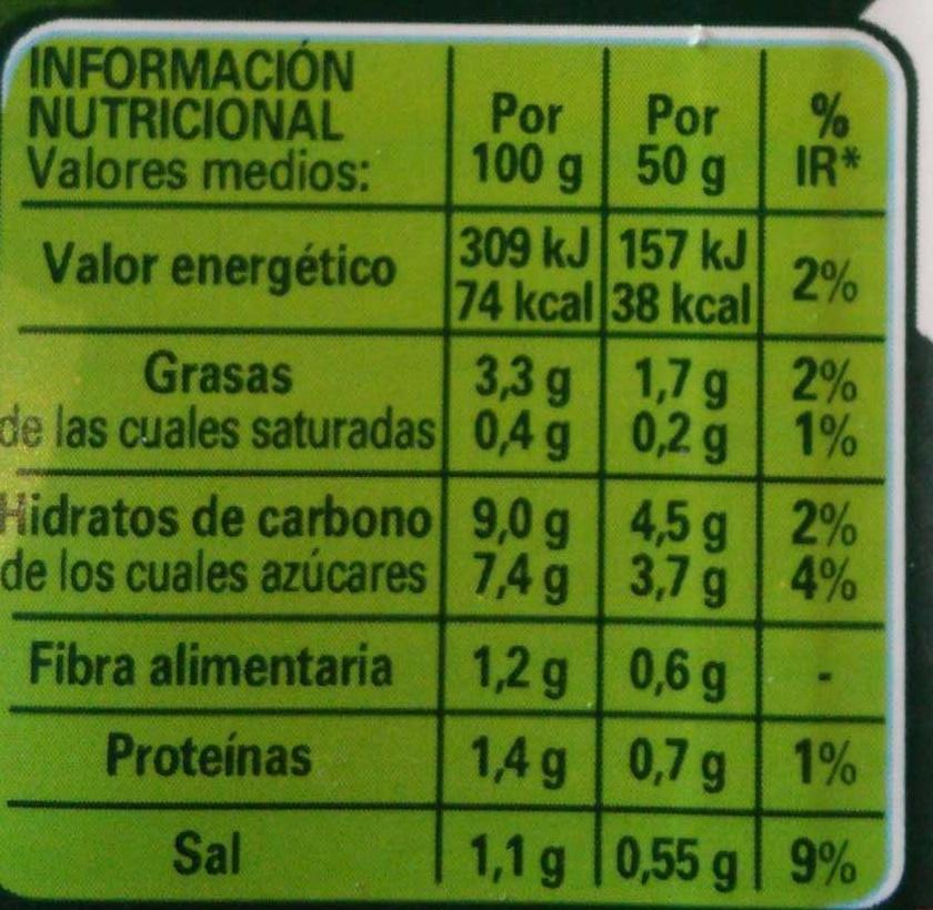 Tomate frito sabor 100% natural - Información nutricional - es
