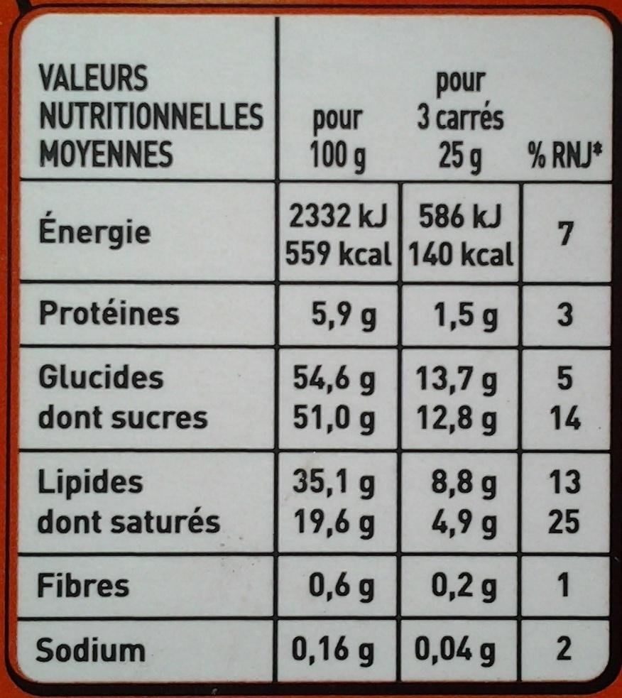 Fondant Caramel Pointe de sel - Nutrition facts - fr