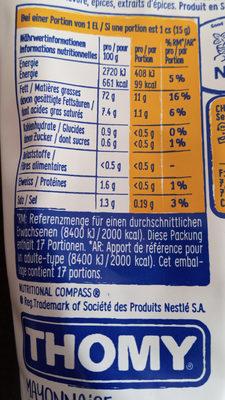 Mayonnaise à la moutarde - Nährwertangaben