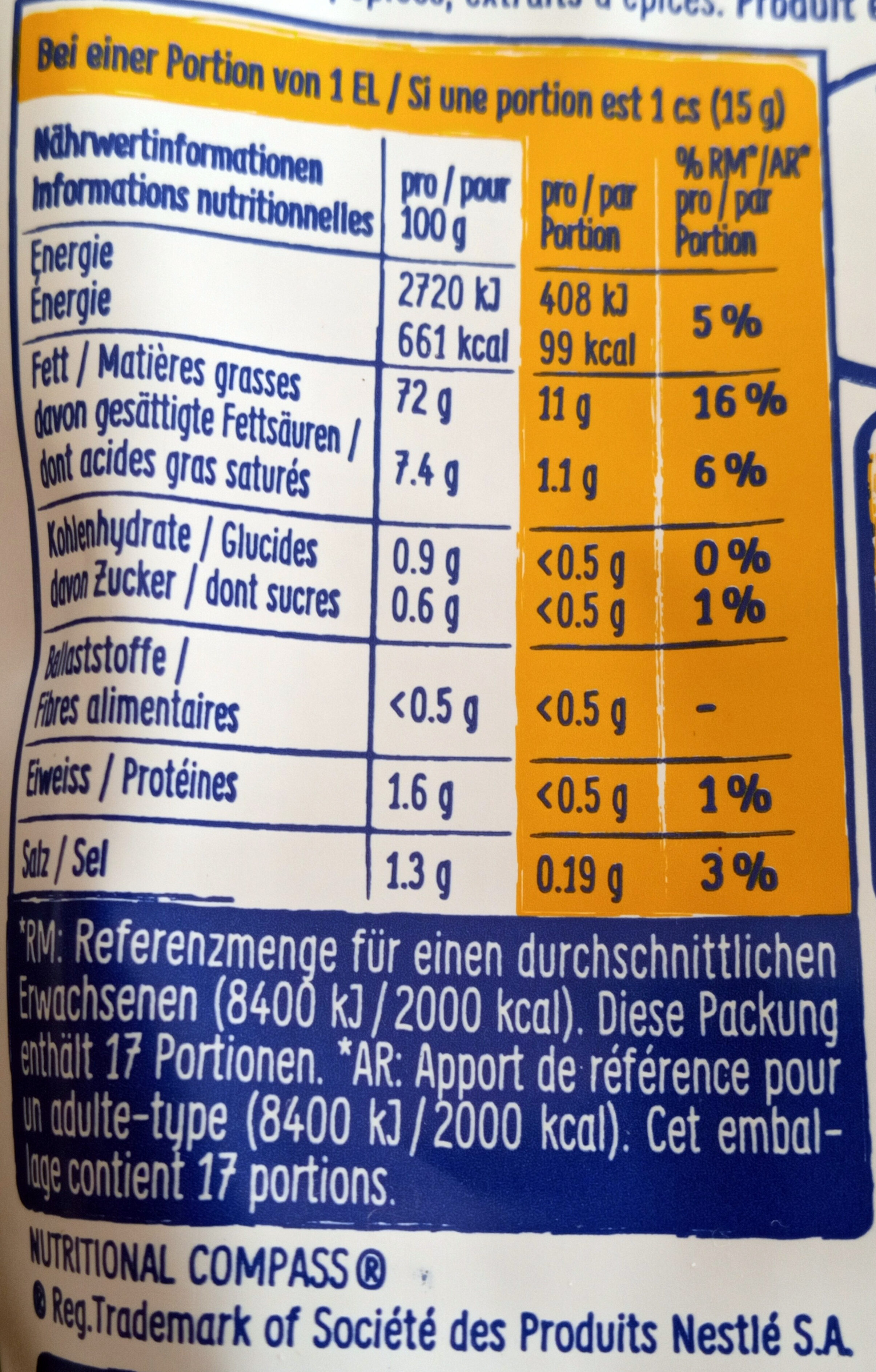Mayonnaise à la moutarde - Nutrition facts