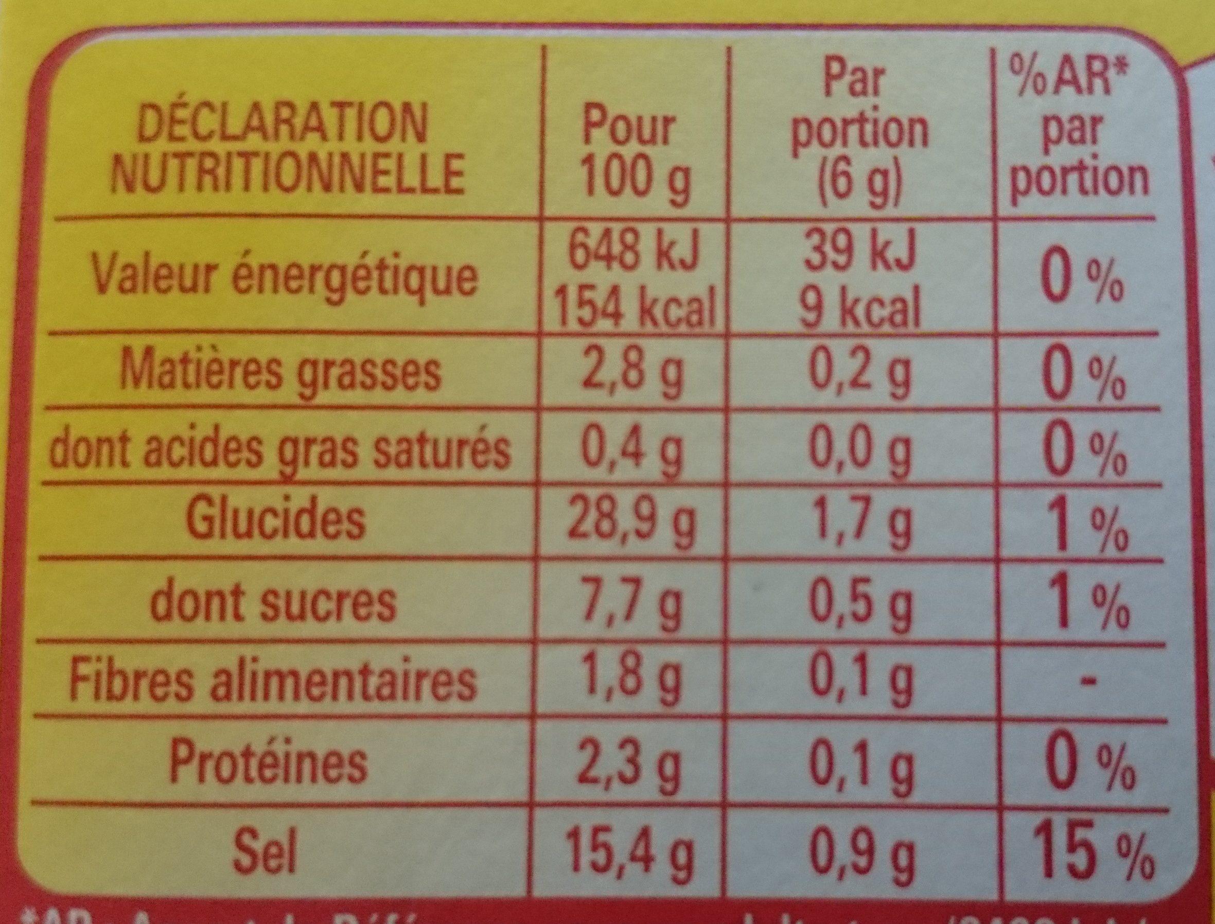 coeur de bouillon légumes méditerranéens - Informations nutritionnelles - fr