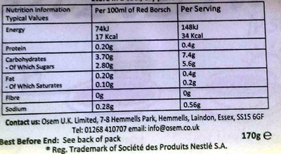 BARSZCZ CZERWONY INSTANT - Nutrition facts